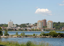 Skyline of Barrie, Ontario. With buildings and Kempenfelt Bay Stock Images