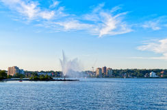 Skyline of Barrie, Ontario. City skyline and Kempfenfelt Bay in Barrie, Ontario Royalty Free Stock Image