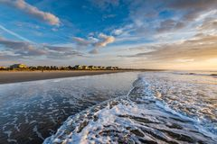 Skyline of beach homes at Isle of Palms, in Charleston South Car. Olina at sunrise stock photography