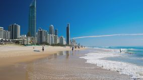 Skyline and a beach of Surfers Paradise, Gold Coast stock video footage