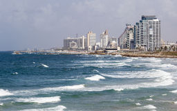 Skyline, and beaches of southern Tel Aviv. Israel. Stock Photo