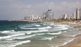 Skyline, and beaches of southern Tel Aviv. Israel. Stock Image