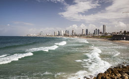 Skyline, and beaches of southern Tel Aviv. Israel. Royalty Free Stock Photos