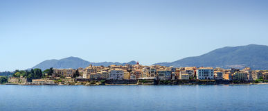 Skyline of beautiful mediterranean town from water Royalty Free Stock Image