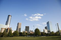 Skyline behind Centennial Olympic Park in downtown Atlanta, Geor Stock Photos