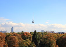 Skyline of Berlin Germany with autumn forest Royalty Free Stock Photography