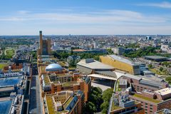 Skyline of Berlin, Germany - city center. / cityscape aerial Royalty Free Stock Photo