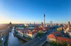 Skyline Of Berlin in Germany on a sunset Royalty Free Stock Image