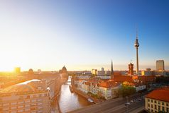 Skyline Of Berlin in Germany on a sunset, toned image Stock Images