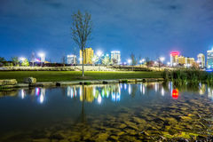 Skyline of Birmingham Alabama from Railroad Park Stock Photography