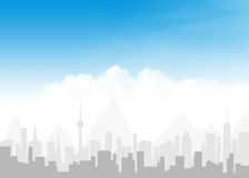 Skyline and blue sky with clouds Royalty Free Stock Images