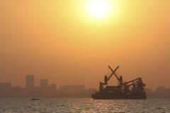 Skyline of Bombay. (Mumbai) from the Arabian Sea at Sunset Royalty Free Stock Images