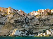 Skyline of Bonifacio, Corsica. Corsica, France, skyline of Bonifacio from the sea Royalty Free Stock Images
