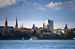 Skyline of Bonn, Germany. Former German capital city Bonn and the river Rhine Stock Photos