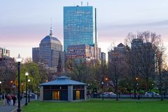 Skyline and Boston Common public park in evening Stock Images