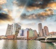 Skyline of Boston at dusk, Massachusetts Stock Image