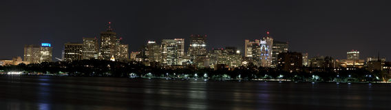 Skyline of Boston, MA, at night Stock Photos