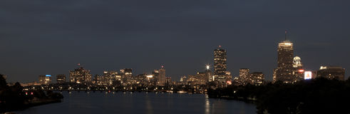 Skyline of Boston, MA, at night Stock Photography