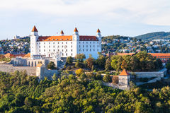 Skyline of Bratislava city with castle Stock Images