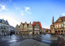 Skyline of Bremen main market square, Germany stock images