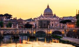 Skyline with bridge Ponte Vittorio Emanuele II and classic archi Royalty Free Stock Photo