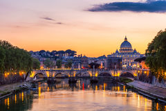 Skyline with bridge Ponte Vittorio Emanuele II and classic archi Royalty Free Stock Image