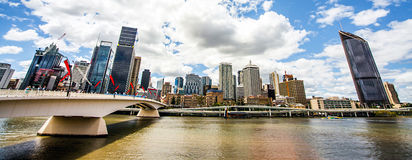 Skyline of Brisbane. With Victoria Bridge Stock Photos