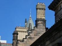 Skyline Bristro Square Teviot Row Hall Study Mcewan hall Edinburgh Scotland University Students Association Chimney. Study Scotland Graduation Teviot Row Hall stock photos