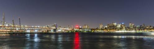 Skyline of Brooklyn with Brooklyn and Manhattan bridge  by night. NEW YORK, USA - OCT 20, 2015: skyline of Brooklyn with Brooklyn and Manhattan bridge  by night Royalty Free Stock Photo