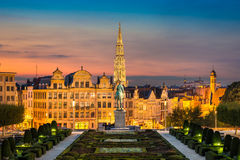 Skyline of Brussels, Belgium. Skyline of the old city of Brussels, Belgium during sunset royalty free stock images