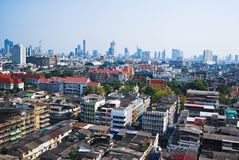 Skyline and the building in Bangkok Thailand Royalty Free Stock Photos