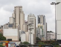 skyline of building deteriorated in downtown sao paulo Royalty Free Stock Images