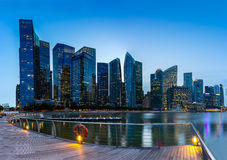 Skyline building of Singapore in twilight time. Modern skyline building of Singapore in twilight time Royalty Free Stock Images
