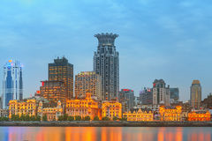 Skyline of The Bund, marvellous historical buildings and Huangpu River on sunset, Shanghai, China Royalty Free Stock Images