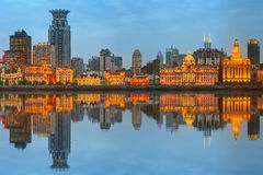 Skyline of The Bund, marvellous historical buildings and Huangpu River on sunset, Shanghai, China Royalty Free Stock Photos