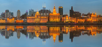Skyline of The Bund, marvellous historical buildings and Huangpu River on sunset, Shanghai, China Stock Photo