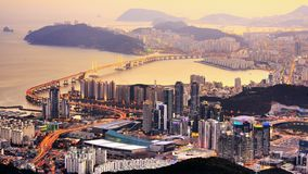 Busan, South Korea. Skyline of Busan, South Korea at dusk Stock Photos
