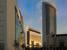 Skyline of business buildings in the exhibition site of Frankfur. Skyline of office buildings in the exhibition site of Frankfurt, Germany Stock Photo