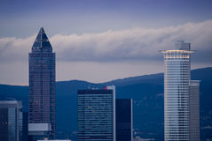 Skyline with business buildings in Frankfurt, Germany, in the ev. Skyline with office buildings in the financial district of Frankfurt, Germany, at sunset Royalty Free Stock Image