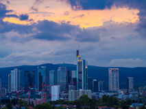 Skyline with business buildings in Frankfurt, Germany, in the ev. Skyline with office buildings in the financial district of Frankfurt, Germany, at sunset Royalty Free Stock Images