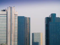 Skyline of business buildings in Frankfurt, Germany, in the morn Royalty Free Stock Photography