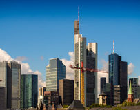 Skyline of business buildings in Frankfurt, Germany Royalty Free Stock Photos
