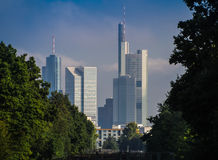 Skyline of business buildings in Frankfurt, Germany. Skyline of office buildings in Frankfurt, Germany, one of the most fascinating financial areas of Europe Stock Photos