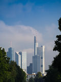 Skyline of business buildings in Frankfurt, Germany. Skyline of office buildings in Frankfurt, Germany, one of the most fascinating financial areas of Europe Royalty Free Stock Photo
