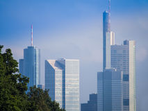 Skyline of business buildings in Frankfurt, Germany. Skyline of office buildings in Frankfurt, Germany, one of the most fascinating financial areas of Europe Royalty Free Stock Image