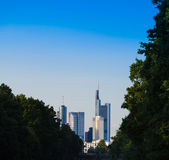 Skyline of business buildings in Frankfurt, Germany. Skyline of office buildings in Frankfurt, Germany, one of the most fascinating financial areas of Europe Stock Images
