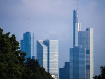 Skyline of business buildings in Frankfurt, Germany. Skyline of office buildings in Frankfurt, Germany, one of the most fascinating financial areas of Europe Stock Image