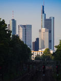 Skyline of business buildings in Frankfurt, Germany. Skyline of office buildings in Frankfurt, Germany, one of the most fascinating financial areas of Europe Stock Photography