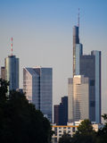 Skyline of business buildings in Frankfurt, Germany. Skyline of office buildings in Frankfurt, Germany, one of the most fascinating financial areas of Europe Stock Photo