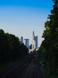 Skyline of business buildings in Frankfurt, Germany. Skyline of office buildings in Frankfurt, Germany, one of the most fascinating financial areas of Europe Royalty Free Stock Images